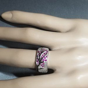 Una Wedding/Mother's/Tree of Life Ring - Magenta